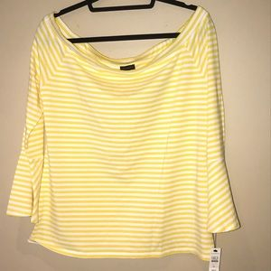 Talbots Yellow and White Striped Top